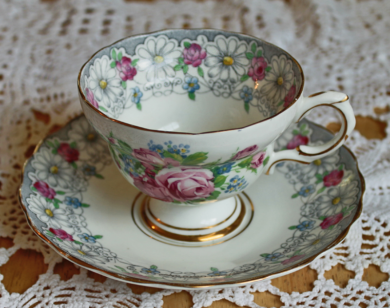 Rosina Bone China Vintage Teacup and Saucer