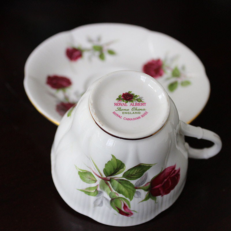 Royal Canadian Rose Bone China Cup and Saucer