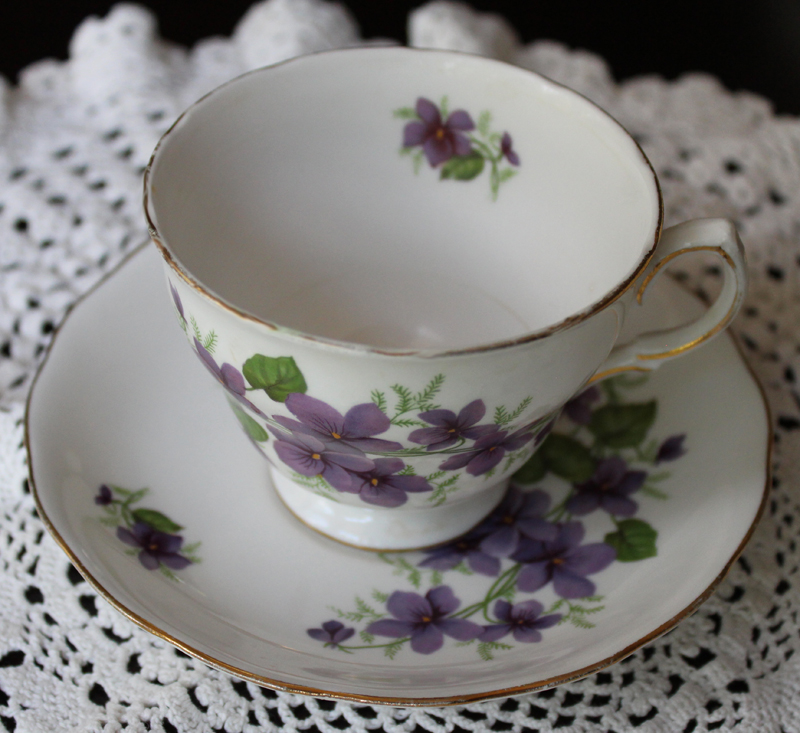 Royal Vale Bone China Teacup and Saucer-purple flowers