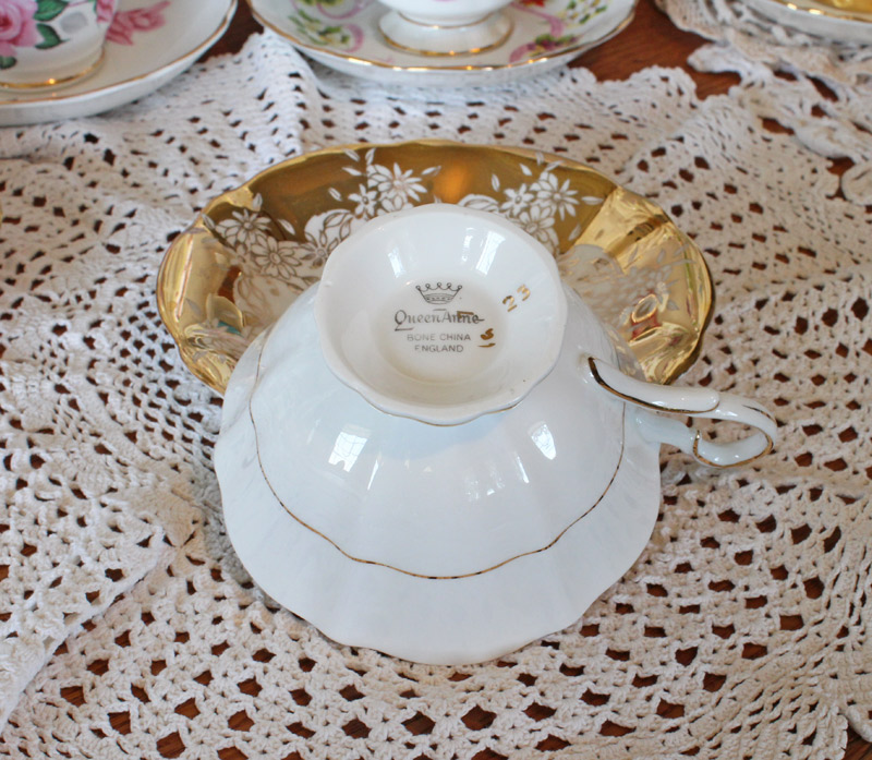 Queen Anne Bone China Teacup and Saucer Gold