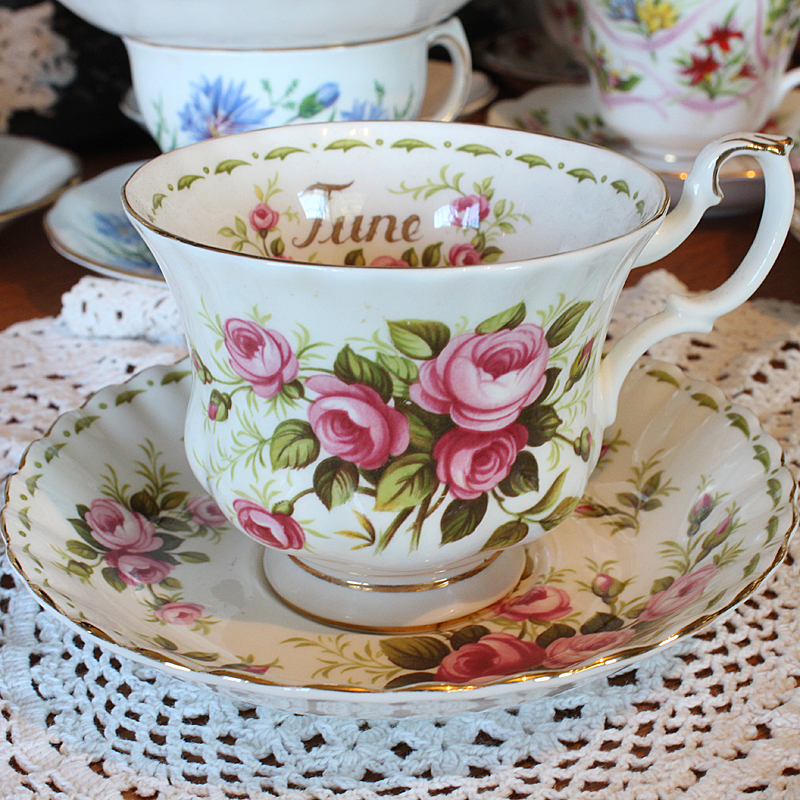 Royal Albert Teacup and Saucer June Flower of the Month Series