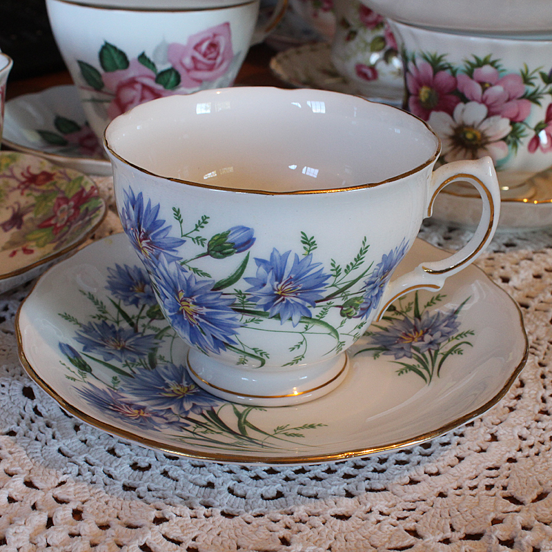 Royal Vale Bone China Teacup and Saucer blue flower