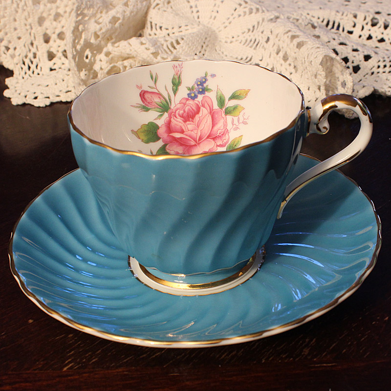 Aynsley Turquoise Swirl Teacup and Saucer