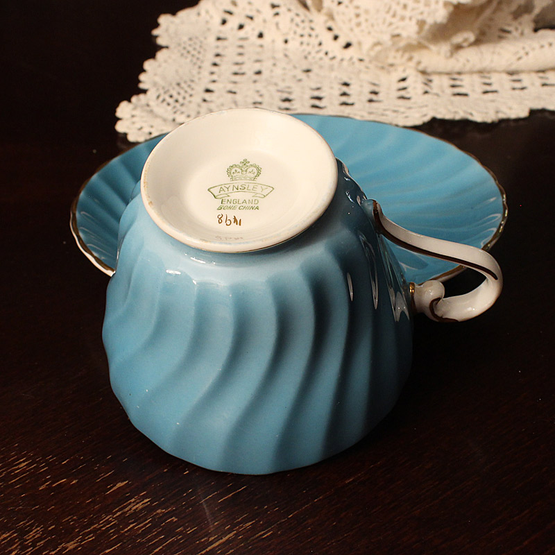 Aynsley Turquoise Teacup and Saucer