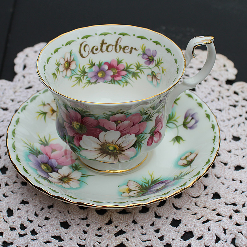 Royal Albert Bone China Teacup and Saucer-October