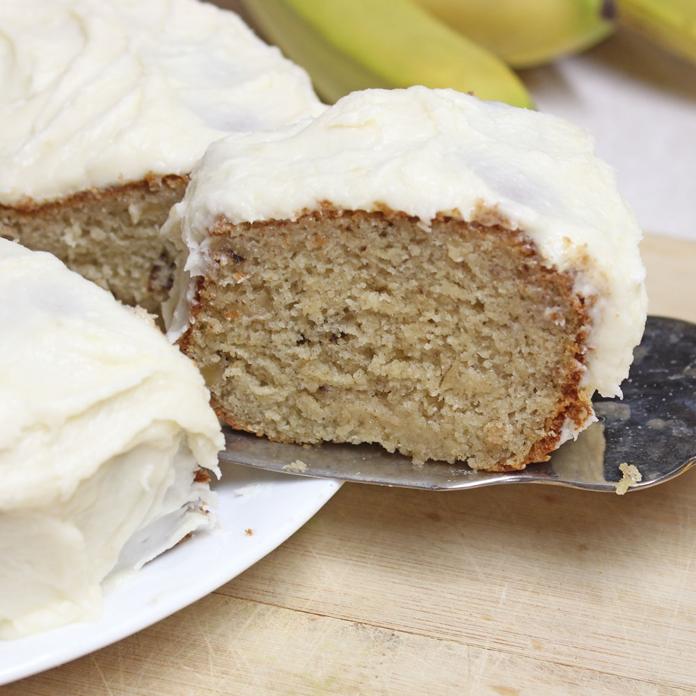 Banana Cake with walnuts and amazing banana frosting!