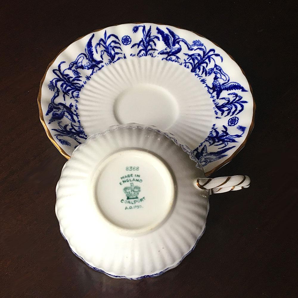 coalport blue pattern teacup and saucer